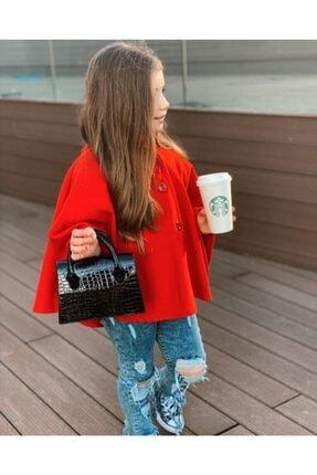 Hilal Akıncı Kids Kız Çocuk Kırmızı Kapüşonlu Düğmeli Kaşe Panço