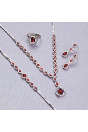Gümüş Takı Dünyası Garnet Zirkon (KOYU KIRMIZI) Zirkon Taşlı Gümüş Bayan Set Sevgi Hediyesi