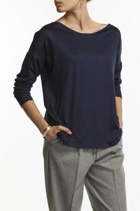 BASIC&CO Eileen Ls Kayık Yaka Viskon Lacivert Basic Bluz