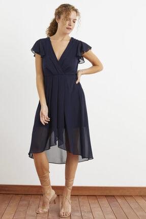 Love My Body Pile Detaylı Şifon Elbise