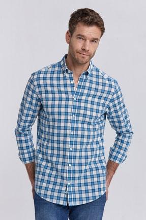 Hemington Ekose Desen Keten Karışımlı Gömlek