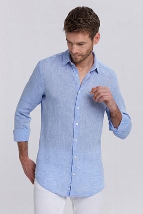 Hemington Açık Mavi Saf Keten Gömlek