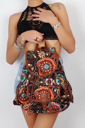 MadameConcept Siyah Üzeri Çok Renkli Mandala Desenli Çok Gözlü Kumaş Kadın Sırt Çantası
