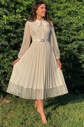 Elbise Delisi Ekru Boyundan Bağlamalı Dantel Detay Piliseli Abiye Elbise
