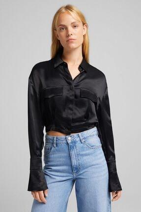 Bershka Düğmeli Uzun Kollu Saten Gömlek
