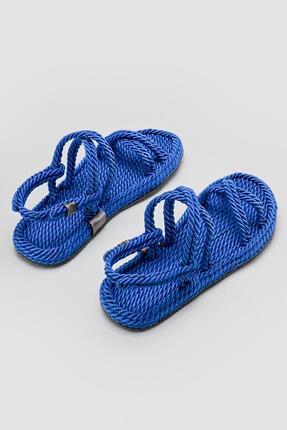 Limoya Kadın Mavi Halat Detaylı Sandalet