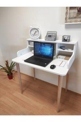 Antakya Mobilyası Asel Çalışma Masası Mdf Malzeme Raflı Beyaz Bilgisayar Masası Öğrenci Masası