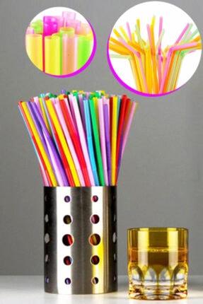 Arsimo Renkli Körüklü Jelatinli Plastik Pipet 70 Adet