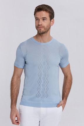 Hemington Ipek Karışımlı Desenli Açık Mavi Triko T-shirt