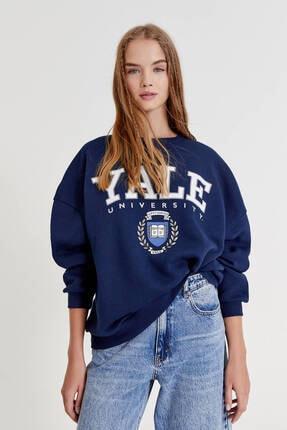 Pull & Bear Gri Yale Sloganlı Kolej Sweatshirt