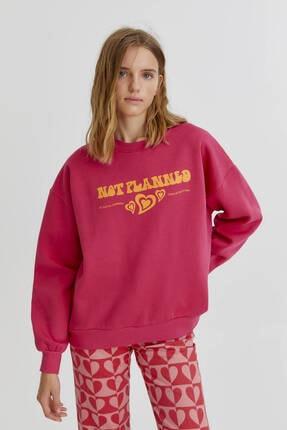 Pull & Bear Grafik Kalp Baskılı Ve Sloganlı Sweatshirt