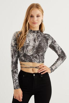 Bipantolon Kadın Sırt Dekolteli Taş Yılan Crop Bluz