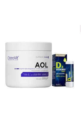 Nutraxin Drops D3 Vitamin Damla 1000 Iu 10 ml + Ostrovit Pure Aol 200 gr Arginine, Ornithine, Lysine