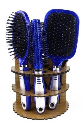 LUGMO 5'li Tarak Seti Ahşap Standlı Çeyizlik Mavi