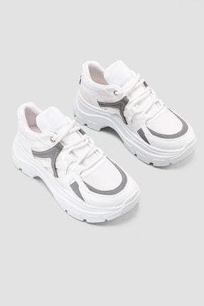Jilberto Melva Beyaz Reflektör Detaylı Fileli Yüksek Tabanlı Sneakers Spor Ayakkabı