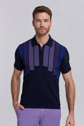 Hemington Mikro Desenli Giza Pamuk Lacivert Triko Polo  T-shirt