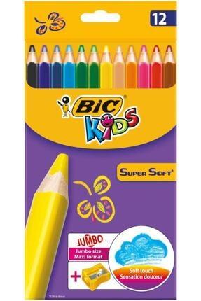 Bic Kids Supersoft Yumuşak Kuru Boya Kalemi 12 Renk Jumbo Kalemtraş