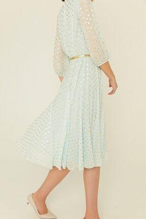 rue. Mint Kemerli Puantiyeli Kolları Yarı Transparan Midi Elbise