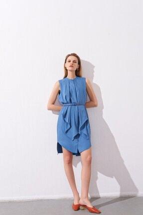 rue. Kemerli Fırfırlı Mavi Mini Gömlek Elbise