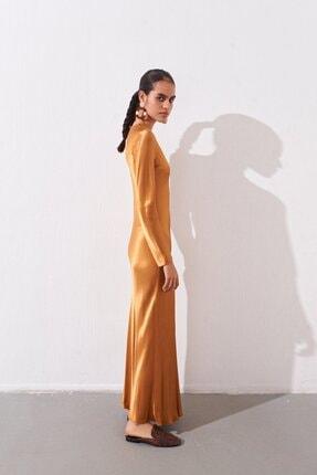 rue. Uzun Saten Bakır Elbise