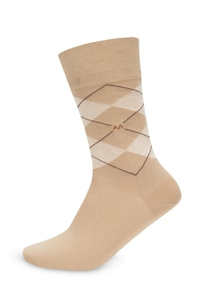 Hemington Baklava Desenli Kum Rengi Pamuk Çorap
