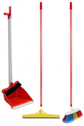 Antex Temizlik Seti - Saplı Faraş, Yer Fırçası, 40 Cm Çekpas, 2 Adet Metal Sap