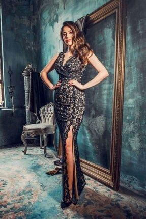 Carmen Siyah Dantel Anvelop Uzun Abiye Elbise