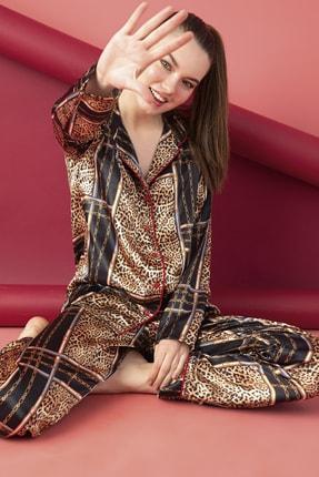 ELİTOL Kadın Saten Düğmeli Pijama Takım