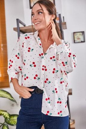 armonika Kadın Beyaz Büyük Puanli Kirazli Salaş Gömlek ARM-21Y001075
