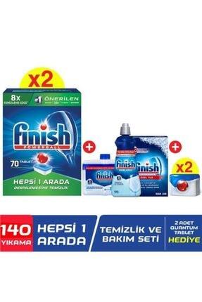 Finish Hepsi Bir Arada 140'lı Tablet Bulaşık Makinesi Deterjanı + Temizlik ve Bakım Seti + 2 Adet Qu