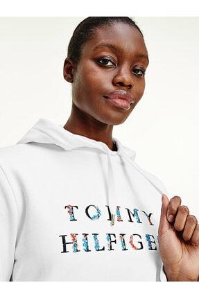 Tommy Hilfiger Çiçek Desenli Logolu Kapüşonlu Sweatshirt