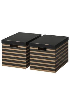 IKEA Pıngla 2 Adet Kapaklı Saklama Kutusu 2 Li Set Siyah Natürel 56x37x36 Cm