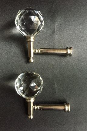 Konur Store Gümüş Rengi Kristal Başlıklı Fon Perde Bağlama Aparatı Metal Renso- 2 Adet
