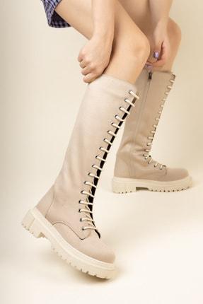 meyra'nın ayakkabıları Ten Süet Bağcıklı Çizme
