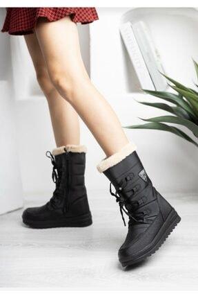 TUGGON Kadın Siyah Termal Kürklü Fermuarlı Kışlık Kar Botu Ayakkabı