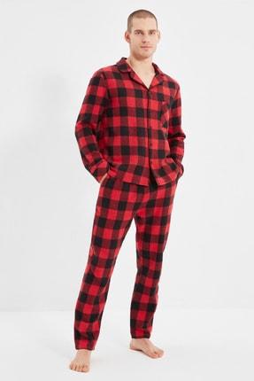 TRENDYOL MAN Kırmızı Erkek Regular Fit Ekose Pijama Takımı THMAW22PT0419
