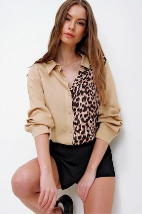 Trend Alaçatı Stili Kadın Bej Leopar Bloklu Dokuma Gömlek ALC-X6012
