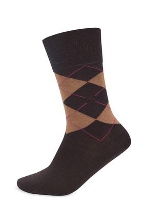 Hemington Baklava Desenli Kahverengi Pamuk Çorap
