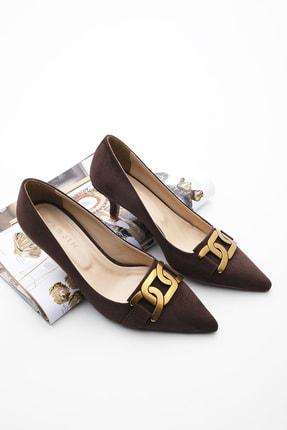 Marjin Kadın Stiletto Topuklu Ayakkabı Kaprekahve Süet
