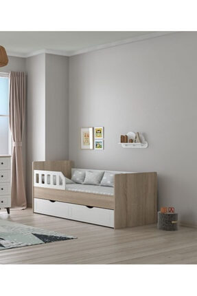ilknur bebe Toscana Çocuk Genç Karyolası Yavru Yataklı 90x190 Lake Beyaz & Ahşap Renk