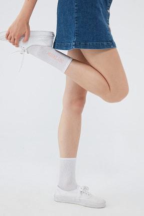 Mavi Kadın Yazı Baskılı Beyaz Çorap 198733-620