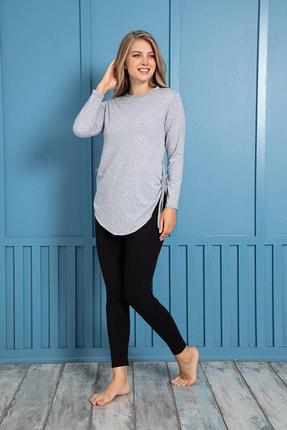 MyBen Kadın Gri Renkli Yandan Bağlamalı Büzgülü Tunik Ve Taytlı Pijama Takımı 28322