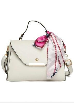 ColourBag Beyaz Askılı Şal Detaylı Çanta