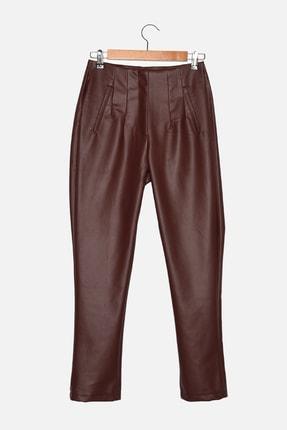 TRENDYOLMİLLA Bordo Suni Deri Pantolon TWOAW22PL0177