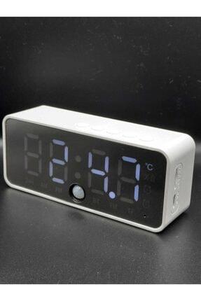 gaman Şarjlı Mini Dijital Masa Saati Radyo Fm Bluetooth Hareket Sensörlü Beyaz
