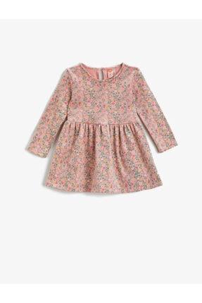 Koton Kız Bebek Pembe Desenli Çiçek Desenli Elbise Uzun Kollu Pamuklu