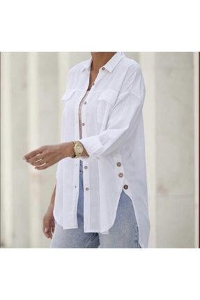 MISSKAFTAN COLLECTİON Kadın Beyaz Pamuk Gömlek