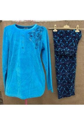 VİENETTA Kadın Mavi Kadife Uzun Kollu Düğmeli Çiçekli Pijama Takımı 1841