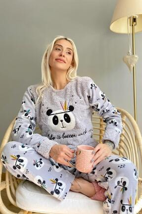 Pijamaevi Kadın Gri Life Panda Desenli Peluş Pijama Takımı
