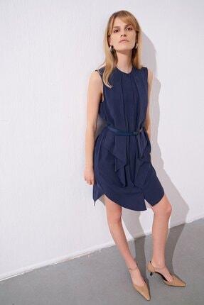 rue. Kemerli Fırfırlı Lacivert Mini Gömlek Elbise